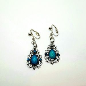 """Jewelry - 1.5"""" Sil Turquoise Tear Drop Blue Beaded Clip-on"""